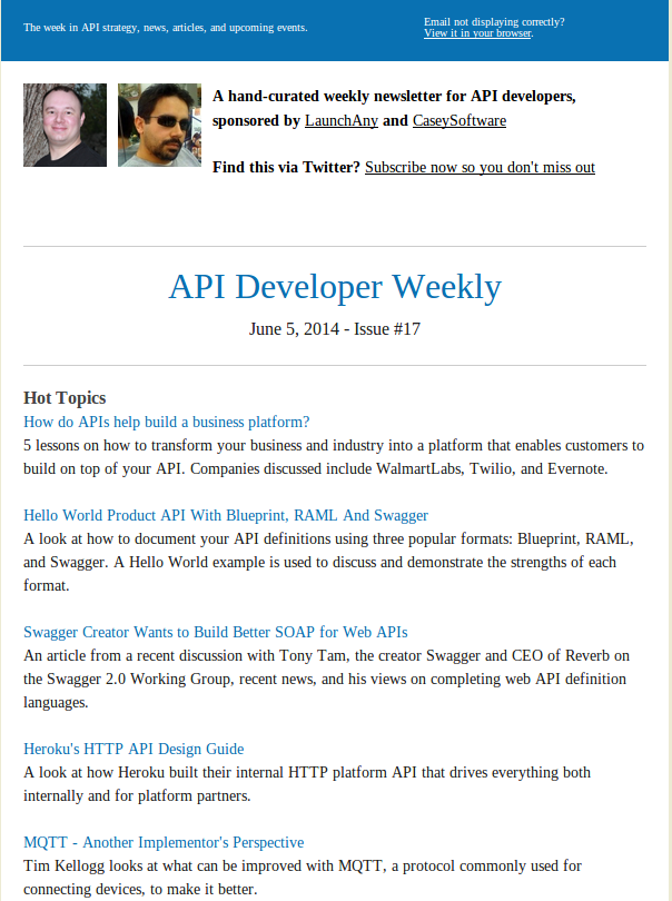 Subscribe launchany api microservice consulting a weekly newsletter that is hyper focused on api strategy design development and architecture for web and mobile apps great for developers architects malvernweather Gallery